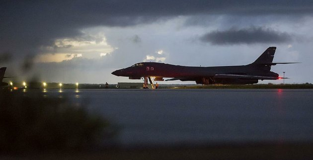 a-us-air-force-b-1b-bomber-prepares-for-takeoff-saturday-at-andersen-air-force-base-on-the-south-pacific-island-of-guam-bombers-from-the-base-along-with-f-15-fighter-escorts-from-okinawa-japan-flew-over-international-waters-near-north-korea-farther-north-of-the-demilitarized-zone-than-any-us-aircraft-had-gone-this-century