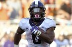 TCU Darius Anderson runs 42 yards for a touchdown in the last quarter of play in Stillwater, Okla., Saturday, Sept. 23, 2017. Anderson had 3 touchdowns and 160 yards in the 44-31 win over Oklahoma State.(AP Photo/Brody Schmidt)