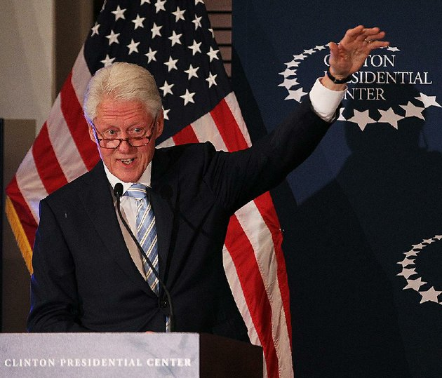 former-president-bill-clinton-tells-a-story-about-nelson-mandela-during-an-appearance-sunday-night-at-the-clinton-presidential-center-in-little-rock