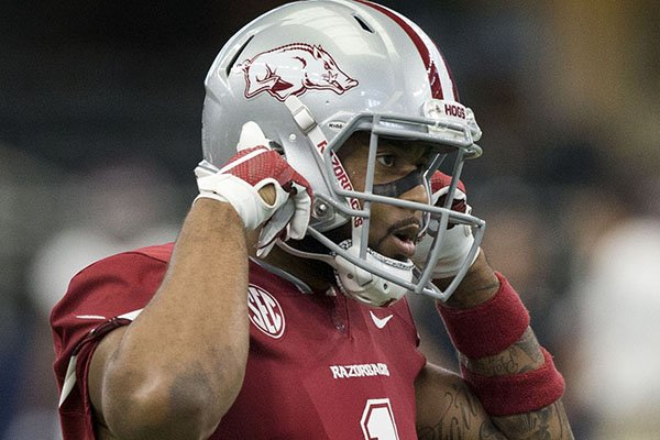 Arkansas receiver Jared Cornelius watches during the first quarter of a game against Texas A&M on Saturday, Sept. 23, 2017, in Arlington, Texas.
