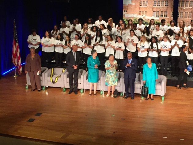 members-of-the-little-rock-nine-enter-central-high-schools-auditorium-at-an-event-monday-sept-25-2017-marking-the-60th-anniversary-of-the-schools-desegregation
