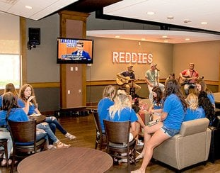 Submitted photo SPACE FOR REDDIES: A $200,000 renovation to the Reddie Cafe' at Henderson State University includes a stage and sound system for live events. The redesign took the shape of a modern coffee house as a comfortable and inviting space.