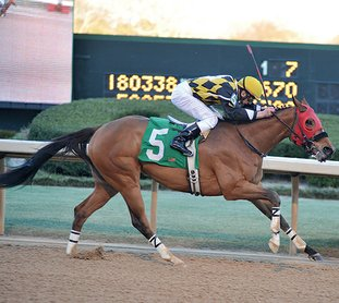 The Sentinel-Record/File photo RECORD BREAKER: Jockey Calvin Borel rides Ivan Fallunovalot to win the King Cotton Stakes at Oaklawn Park on Jan. 30, 2016. Under jockey Luis Quinonez, Ivan Fallunovalot set a track record Sunday at Remington Park in Oklahoma City as he won the $150,000 David M. Vance Stakes for the fourth straight year.