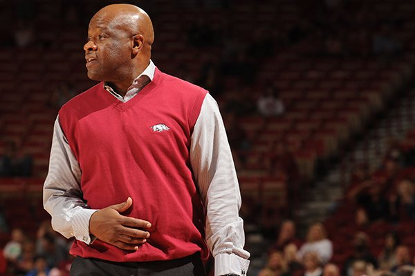 Arkansas coach Mike Anderson watches from the bench against Emporia State's Friday, Nov. 4, 2016, during the second half of play in Bud Walton Arena in Fayetteville.