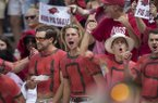 Arkansas fans cheer during a game against TCU on Saturday, Sept. 9, 2017, in Fayetteville.
