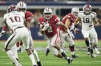 Hawgs Illustrated/BEN GOFF  Chase Hayden, Arkansas running back, runs the ball in the second quarter against Texas A&M Saturday, Sept. 23, 2017, during the Southwest Classic at AT&T Stadium in Arlington, Texas.