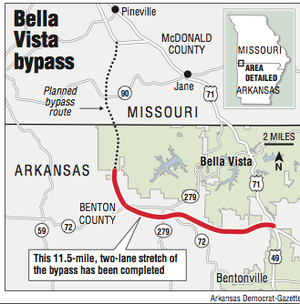 A map showing the Bella Vista bypass.