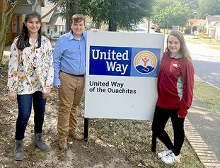 Submitted photo PIT STOP: Lakeside High School students, from left, Leah Buentello, Kevin Henson and Tarynn Yates recently presented their plans to the United Way of the Ouachitas to organize a mini job fair in January to complement the annual homeless Point-In-Time Count. Classmates Nicole Jones and Elizabeth Kalinowsky in Cody Lambert's Tools for Learning course joined the group to help organize the event and provide resources for the less fortunate.
