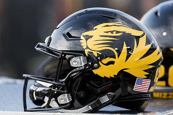 A Missouri Football Helmet Sits On The Bench During Fourth Quarter Of An NCAA College