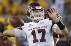 New Mexico State's Tyler Rogers (17) warms up before a football game against Arizona State, Thursday, Aug. 31, 2017, in Tempe, Ariz. (AP Photo/Rick Scuteri)