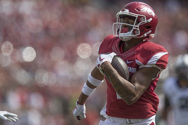 Arkansas receiver Jonathan Nance scores a touchdown during a game against TCU on Saturday, Sept. 9, 2017, in Fayetteville.