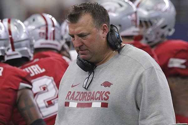 Arkansas coach Bret Bielema stands on the sideline during a game against Texas A&M on Saturday, Sept. 23, 2017, in Arlington, Texas. The Razorbacks lost 50-43 in overtime to the Aggies, marking Arkansas' 12th one-score defeat under the fifth-year coach.