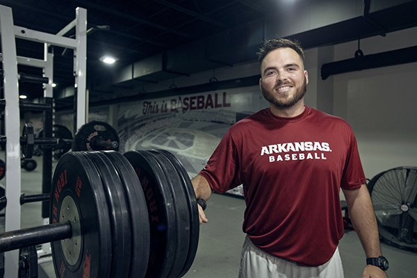 Blaine Kinsley in his first year as Arkansas' baseball strength coach.