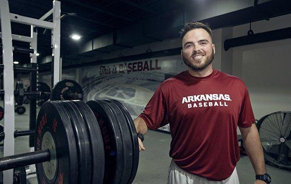 Blaine Kinsley in his first year as Arkansas' baseball strength coach.