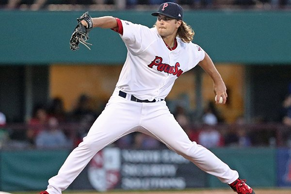 Former Arkansas pitcher Jalen Beeks, a Prairie Grove native, had a breakout season with the Red Sox's minor league affiliates this year. (Photo by Pawtucket Red Sox)