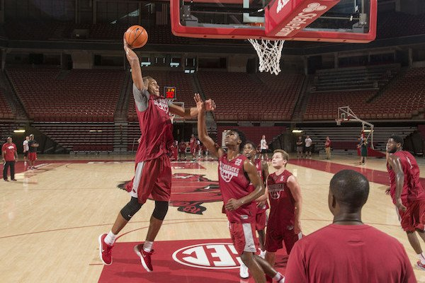 Arkansas freshman Daniel Gafford goes up for a dunk during practice Tuesday, Oct. 3, 2017.