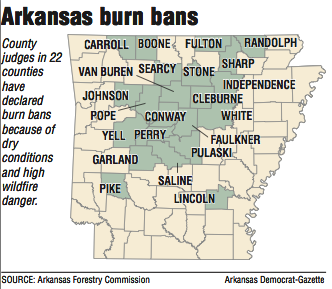 22 Arkansas counties impose burn bans as state's wildfire risk