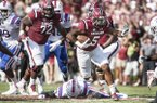 South Carolina running back Rico Dowdle (5) carries the ball against Louisiana Tech during the first half of an NCAA college football game Saturday, Sept. 23, 2017, in Columbia, S.C. South Carolina defeated Louisiana Tech 17-16. (AP Photo/Sean Rayford)