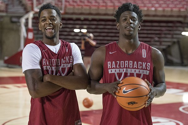 arkansas-guards-daryl-macon-left-and-jaylen-barford-are-shown-during-the-razorbacks-annual-media-day-on-tuesday-oct-3-2017-in-fayetteville