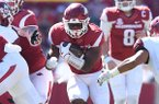 Arkansas running back David Williams carries the ball during a game against New Mexico State on Saturday, Sept. 30, 2017, in Fayetteville.