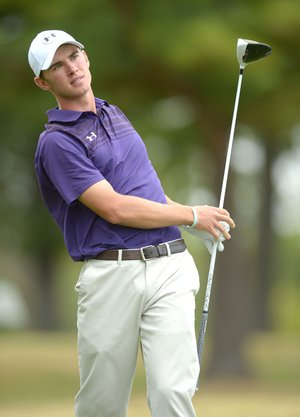 NWA Democrat-Gazette/ANDY SHUPE Fisher Vollendorf of Fayetteville watches his shot from the No. 6 tee box Tuesday during the 7A state golf tournament at Fayetteville Country Club. Visit nwadg.com/photos for more photos from the first day of competition.