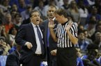 In this March 26, 2017, file photo, Kentucky head coach John Calipari argues a call with referee John Higgins in the first half of the South Regional final game against North Carolina in the NCAA college basketball tournament in Memphis, Tenn. (AP Photo/Mark Humphrey)