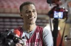 Arkansas freshman center Daniel Gafford answers questions during the Razorbacks' annual media day Tuesday, Oct. 3, 2017, in Fayetteville.