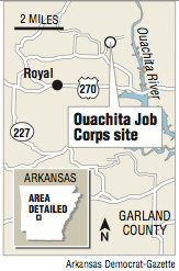 A map showing the Ouachita Job Corps site