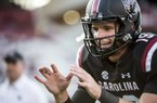 South Carolina quarterback Jake Bentley (19) takes a snap before kickoff of an NCAA college football game against Kentucky on Saturday, Sept. 16, 2017, in Columbia, S.C. Kentucky defeated South Carolina 23-13. (AP Photo/Sean Rayford)