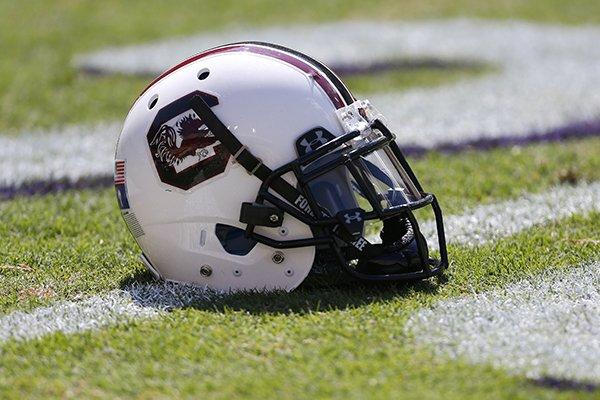 A South Carolina helmet is seen before an NCAA college football game in Baton Rouge, La., Saturday, Oct. 10, 2015. (AP Photo/Jonathan Bachman)