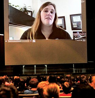 The Sentinel-Record/Richard Rasmussen CAREER PATH: Heather Harbach, interim dean of students at Edgewood College in Madison, Wis., led Fountain Lake Middle School Cobra Digital Prep Academy students in a virtual career academy session Thursday morning. Harbach, an Arkansas native, explained how education helped her to attain her professional goals.