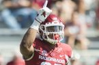 Arkansas linebacker Dwayne Eugene reacts during a game against New Mexico State on Saturday, Sept. 30, 2017, in Fayetteville.