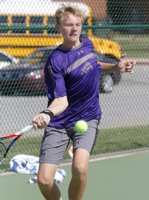 Fayetteville's Jake Sweeney makes a forehand return Friday during the 7A-West tennis tournament final against Springdale Har-Ber's Conor Clardy in Springdale.