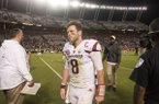 Austin Allen, Arkansas quarterback, walks off after Arkansas's loss to South Carolina Saturday, Oct. 7, 2017, at Williams-Brice Stadium in Columbia, S.C.