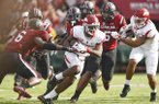 Arkansas receiver T.J. Hammonds runs the ball during the Razorbacks' game at South Carolina on Saturday, Sept. 6, 2017.
