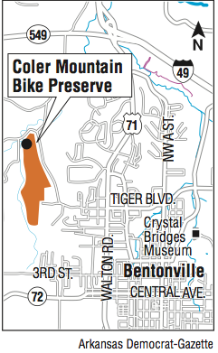 A map showing the location of the Coler Mountain Bike Preserve