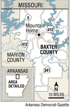 A map showing the location of Baxter County