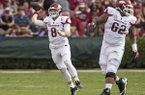 Arkansas quarterback Austin Allen (8) throws a pass during a game against South Carolina on Saturday, Oct. 7, 2017, in Columbia, S.C.