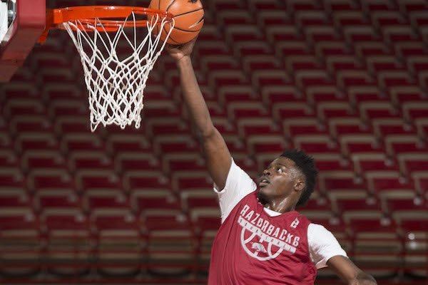 Adrio Bailey takes part in practice Tuesday, Oct. 3, 2017, during Arkansas men's baskebtall media day at Bud Walton Arena in Fayetteville.