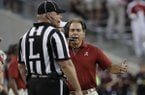 Alabama coach Nick Saban yells to an official during the first quarter of an NCAA college football game against Texas A&M Saturday, Oct. 7, 2017, in College Station, Texas. (AP Photo/David J. Phillip)