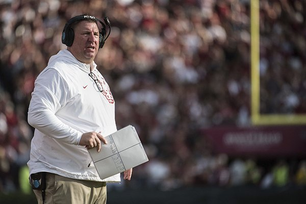 Arkansas head coach Bret Bielema watches from the sideline during the first half of an NCAA college football game against South Carolina on Saturday, Oct. 7, 2017, in Columbia, S.C. South Carolina defeated Arkansas 48-22. (AP Photo/Sean Rayford)