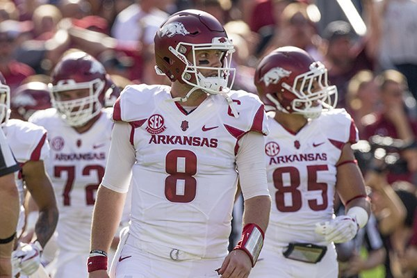 Arkansas quarterback Austin Allen (8) takes the field during a game against South Carolina on Saturday, Oct. 7, 2017, in Columbia, S.C.