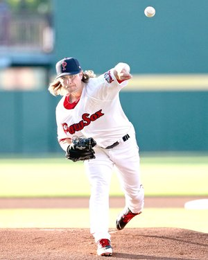 KELLY O'CONNOR PHOTO Jalen Beeks delivers a pitch for Boston's Triple A minor league affiliate, Pawtucket Red Sox. Beeks is a 2011 graduate of Prairie Grove High School and a former Arkansas Razorback. Beeks has been named Minor League Pitcher of the Year by the Boston Red Sox.