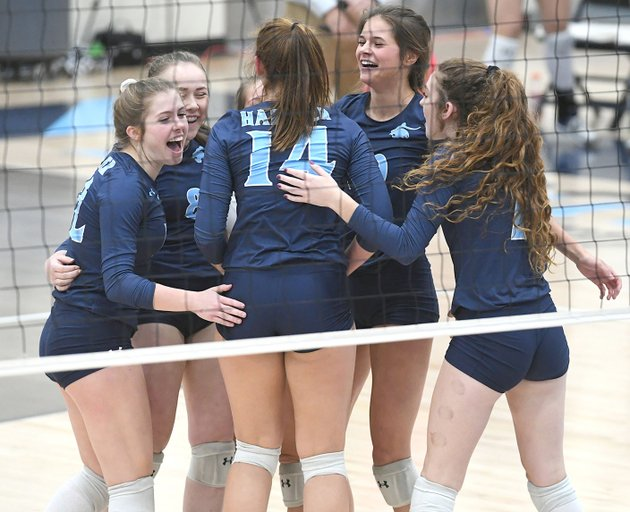 nwa-democrat-gazettejt-wampler-springdale-har-ber-players-celebrate-a-point-against-tuesday-during-a-match-against-fayetteville-at-wildcat-arena-in-springdale-har-ber-won-the-match-in-five-sets