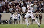 Alabama's Minkah Fitzpatrick (29) celebrates after a Texas A&M turnover during the first quarter of an NCAA college football game Saturday, Oct. 7, 2017, in College Station, Texas. (AP Photo/David J. Phillip)