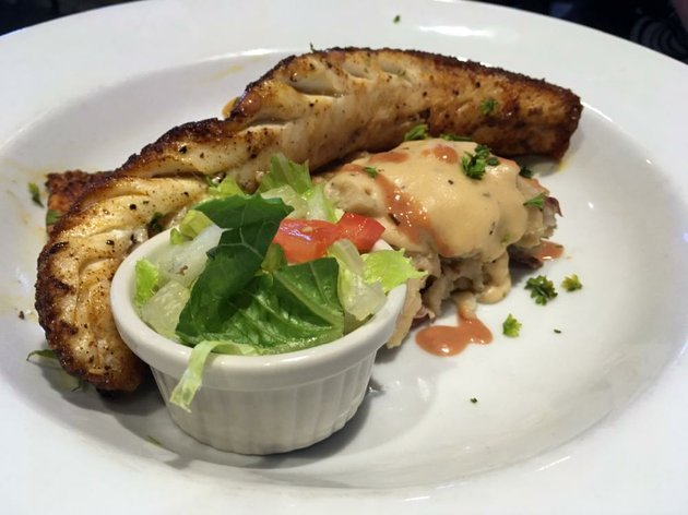 blackened-north-walleye-with-mashed-potatoes-and-a-very-small-side-salad-is-one-of-four-fresh-fish-choices-at-lakewood-lounge-in-north-little-rock