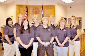 RACHEL DICKERSON/MCDONALD COUNTY PRESS The McDonald County Circuit Clerk's staff are, left to right, Jessica Bergen, Lori Sellers, Athena Thacker, Jennifer Mikeska, Stephanie Sweeten, Tanya Lewis, Debby Daniels, Monica Willyard, not pictured, Courtney Bohannon and Laura Williams.