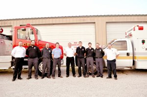 RACHEL DICKERSON/MCDONALD COUNTY PRESS Noel Fire Department members are, left to right, Shain Scott, Michael Patton, Joshua Todd, Keean Rogers, Chief Brandon Barrett, Blake Barrett, Cody Miller, Eric Bennett and Brian Skaggs.