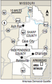 A map showing Sharp and Independence counties.