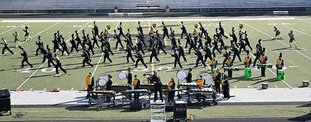 The Sentinel-Record/Mara Kuhn SPA CITY TROJANS: The Hot Springs Marching Trojan Band opened the first Spa City Marching Invitational Tuesday at Reese Memorial Stadium. Hot Springs World Class High School welcomed more than 1,150 students and guests from 15 schools.